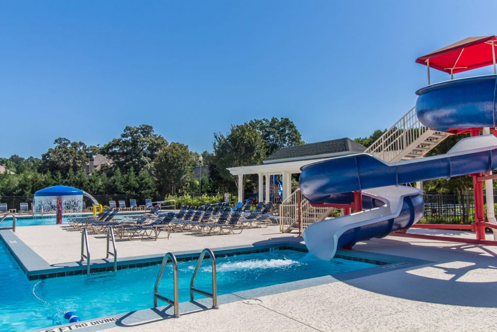The pool and waterslide are great amenities at Traditions of Braselton
